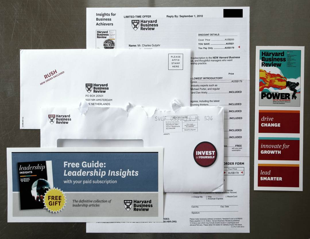 Photo of the Harvard Business Review letter and paraphernalia